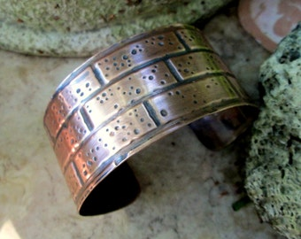 brick wall embossed copper cuff