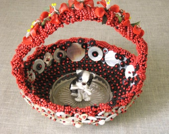 Beaded Basket , Wil Shepherd Studio , Caviar Basket , Caviar Server , Handmade , Mother of Pearl Buttons , Entertaining , Basket , Red