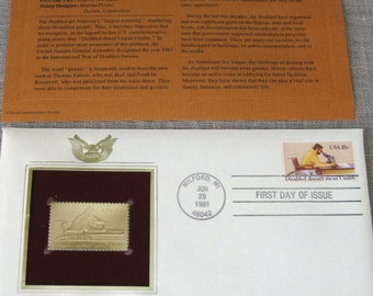 First Day Issue , Stamp , Gold Stamp , Disabled Persons , Commemorative Stamp , Postage Stamp , Collectibles , Art Supplies , Scrapbooking
