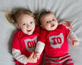 OH-IO Bodysuit/t-shirt set for SIBLINGS, Great way to celebrate a 2nd birth!!! Ohio kids gift