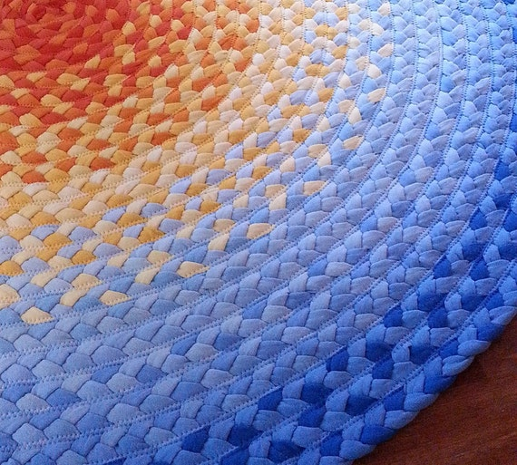"53"" Sun rug,braided from recycled t-shirts"