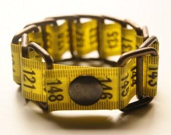 Tape measure bracelet  -  Yellow (upcycled vinyl/measuring tape)