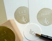 Custom made Wedding Rubber Stamp Set with floral ornament »underwater plant«