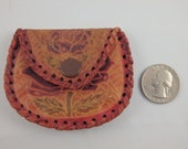 Vintage Rose Tooled Embossed Leather Coin Purse Change Small