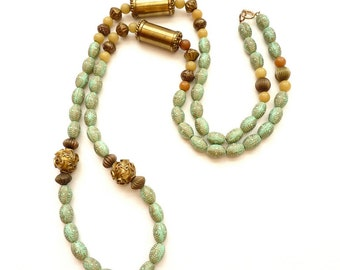 Bohemian 1980s Artisan Necklace Antiqued Brass, Patina and Jade Beads 43 Inch Rope