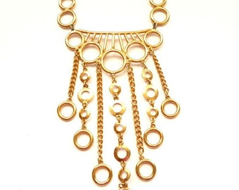 Unique Modernist Fringe Necklace Gold Tone Circle Motif