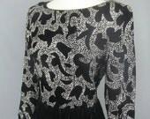 Vintage Black Velvet and Silver Glitter Long Sleeve Dress By Ricki Lang for Nuit Size Medium