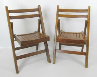 Vintage Pair of Children's Lobeco Mid Century Wood Folding Chairs