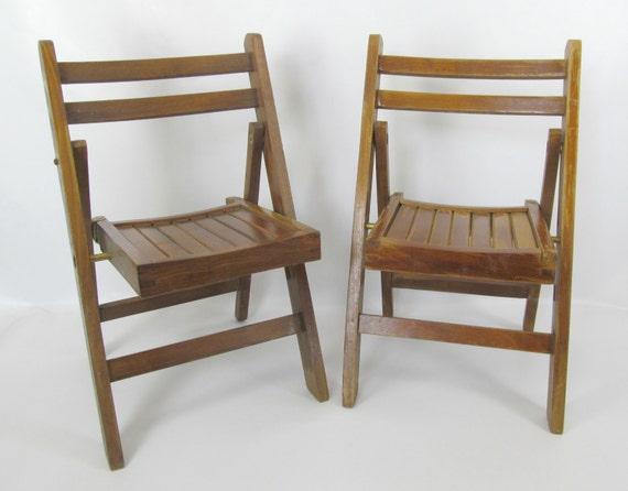 Items similar to Vintage Pair of Children s Lobeco Mid Century Wood Foldi