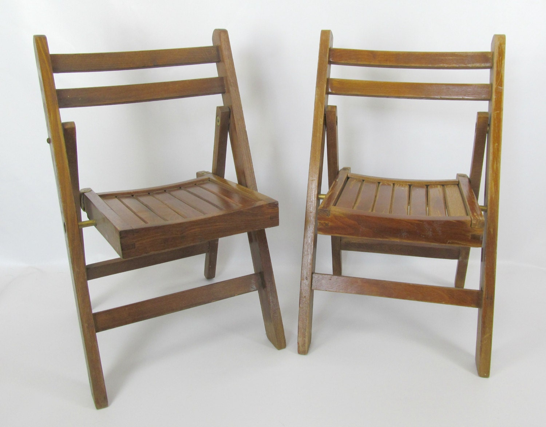 Vintage Pair of Children's Lobeco Mid Century Wood Folding Chairs – Haute Juice