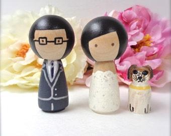 Kokeshi WEDDING CAKE TOPPER With Pet Custom Kokeshi Doll Wedding Cake Toppers Cute Cake Toppers