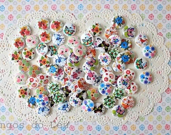 80 wood buttons - mixed patterns- 16 different  - Ready to Ship.