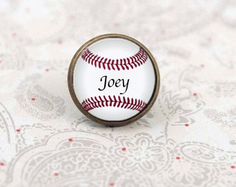 Baseball Tie Tack, Personalized Tie Pin, Softball, Sports Pin, Brooch Pin