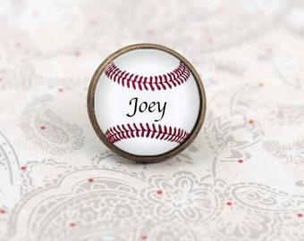 Baseball Tie Tack, Personalized Tie Pin, Softball, Sports Pin, Brooch Pin