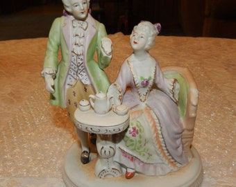 Lovely Victorian Couple with Couch and Table ..... Tea Time ... Hands broken ... made in Japan..