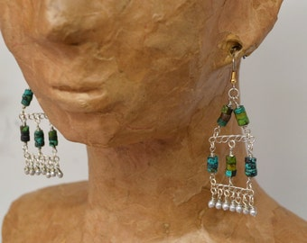 Rustic Ethnic Silver & Turquoise Chandelier Earrings