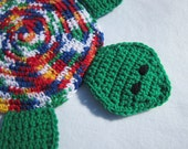 Turtle Trivet, Crocheted Bright Green Blue Yellow White and Red, Turtle Wall Decor, Turtle Pot Holder