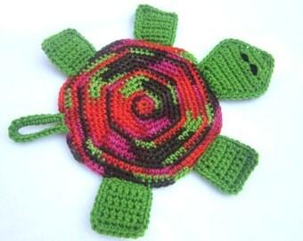 Turtle Pot Holder in Green, Red, Brown, Turtle Hot Pad, Tortoise Trivet