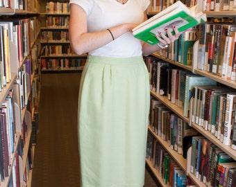 Pencil Skirt - Gingham Skirt - Midi Skirt - Vintage Skirt -  Pencil Office Skirt - Midi Office Skirt - Tea Length Skirt - Printed Midi Skirt