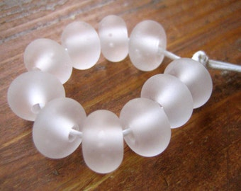 Frosted Clear Lampwork Spacer Beads, FHFteam, SRA, UK