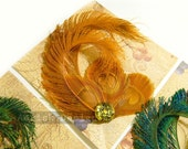 Orange Peacock feather fascinator  (5 fastener and 16 color options) RENA design for derby,mardi gras, picnic,teaparty hat,wedding