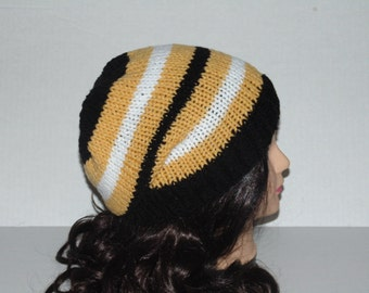 Slouchy Beanie, Football Team Hat, Black, Yellow and White, Striped Hat