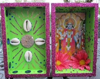 Tridev nicho, Hindu altar, shrine, folk art, shadow box