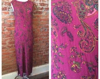80s paisley print midi dress