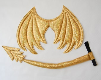 Gold Dragon Wings and Tail SET, Metallic Gold dragon,  wire free, dragon costume, dress up play, cosplay dragon, Halloween costume