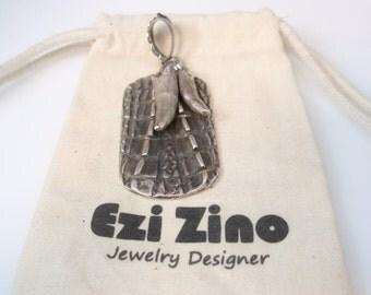 Original Ezi zino dog tag Crocodile alligator Texture Crocodile teeth Pendant Handmade solid Sterling Silver 925