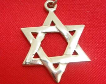 Star of David Jews Pendant 14k Yellow Gold By Delini Israel 3.6 Gram