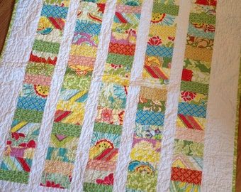 Pop Garden Coins Crib Quilt Baby Blanket -- pink, green, yellow, blue, red -- Heather Bailey fabrics