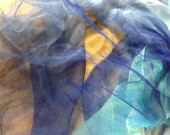 """Extra Large 70""""x40""""Dark blue to sky blue 96"""" long  silk open-weave gauze scarf (perfect  for Nuno Felting)"""