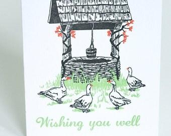 SALE - Letterpress Good Luck Card - Wishing Well - 60% off