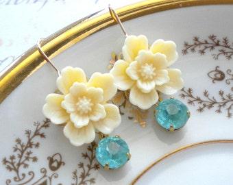 Turquoise Earrings Chandelier Earring Ivory Flower Earring Swarovski Earring Gold Plated Earrings Turquoise Dangle Earrings Ivory Earring
