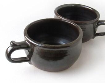 Pair of Dark Brown Soup Mugs