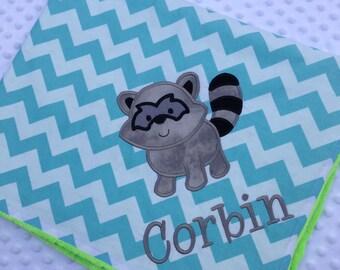 Personalized Baby Blanket- Chevron Baby Blanket- Minky Baby Blanket- Aqua Chevron Minky Blanket- Raccoon Blanket
