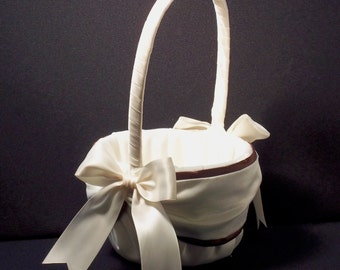 Chocolate Brown Wedding Flower Girl Basket White or Ivory