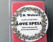 Soy Wax Candle Melts Clamshell 6-pack Scented With Love Spell Fragrance Oil