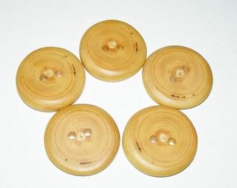 """5 Handmade  plum  wood buttons, accessories (1,57"""" diameter x 0,28"""" thick)"""