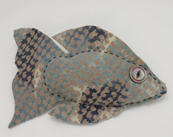 Blue Fish - Baby Nursery/Kids' Room Decor - Beach/Lake House Decor - Stuffed Animal - Plush Toy - Folk Art Doll - Soft Sculpture - FLOUNDER