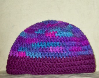 Skull Cap Shades Of Purple & Blue Crochet Winter Women's Hat Crochet Toque