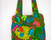 reversible tote grocery farmers market recycled 60's psychedelic love print handmade at 8 LIMBS