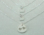Mother and Daughter Jewelry, Mother of Two Daughters,Silver Heart Charms, Gift Set