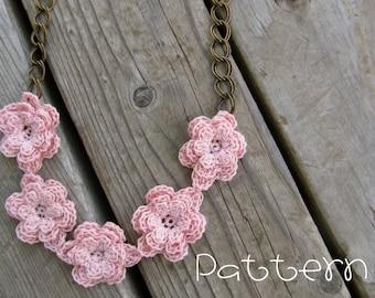 PATTERN- PDF- Vintage Flair Flower Necklace- Crochet