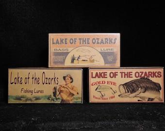 Lake house decor lake of the Ozarks Missouri fishing lure boxes make great cabin decorations