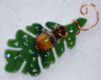 Oak Leaf and Acorn - Fused Glass Ornament 12083