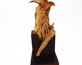 Overview Original Rick Cain Wood Old Man and Hawk Sculpture 2014