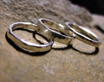 Sterling silver ring set, 3 midi stacking rings, lightly hammered, wide knuckle rings, reclaimed silver, phalanx ring