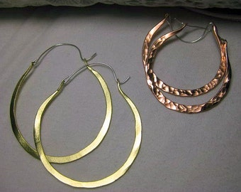 Large hoop earrings, hammered or textured hoops, available in silver, brass or copper,  hand forged rustic hoops, different sizes available